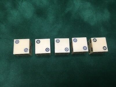 Set of 5 ring eye dice made of cellulose . Excellent condition
