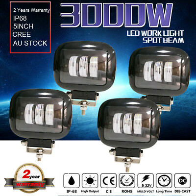 5inch 3000w cree LED Work Driving  Light Spot Beam flood Offroad work 4WD Black