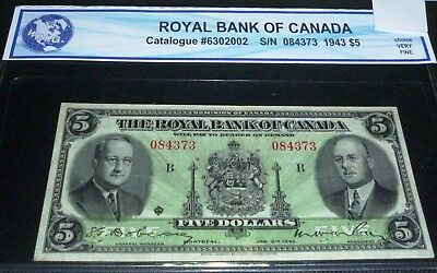 1943 Royal Bank $5. Canadian Chartered banknote, VERY FINE ++