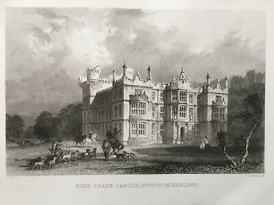 1834 Antique Print; Chipchase Castle, Northumberland after Thomas Allom