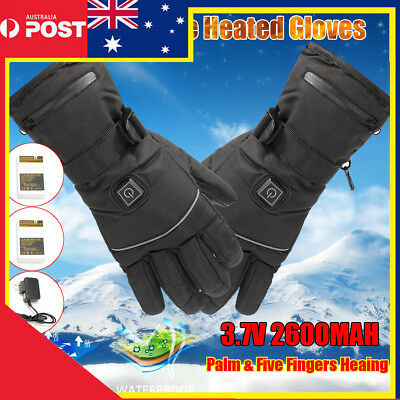 AU 3 Levels 2600mAh Electric Rechargeable Battery Heated Winter Warmer Gloves