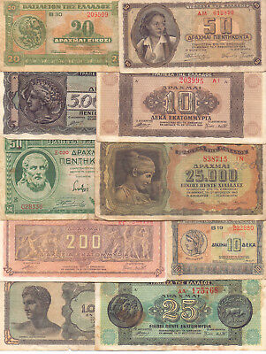Greece  - 10 Different Greek Banknotes (Lot-3)