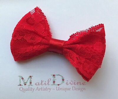 Baby Girl Toddler Non Slip Hair Clip 4.5cm Alligator Clip Lace Large Bow Red
