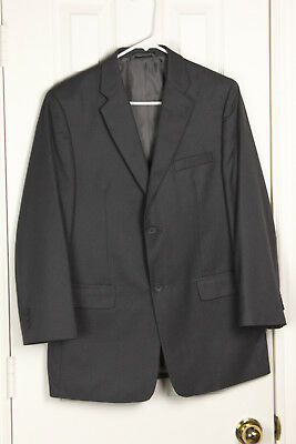 Sz 20 (J) 18H (P) Joseph & Feiss Boys Gray Striped Suit, Flat Front Pants, Euc