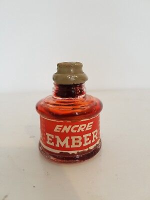"Ancien encrier publicitaire ""Encre Ember"" rouge - Old Vintage Inkwell"