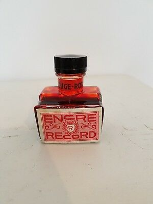 "Ancien encrier publicitaire ""Encre Record"" rouge - Old Vintage Inkwell"