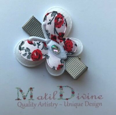 Baby Toddler Girl Non Slip Hair Clip Bow 4.5 cm Alligator Butterfly Red Grey