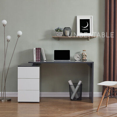 Grey Gloss Computer Desk with 3 White Gloss Drawers Durable and Sturdy Brand New