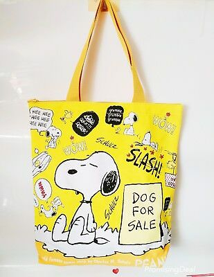 Cute Women Girl Snoopy Peanuts Fiberflax  Food Fruit Shopping Bag Handbag Yellow