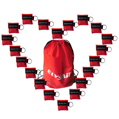 250pcs Red Keychain One Way Valve Disposable Resuscitation Transparent CPR Mask