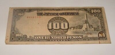 The Japanese Government 100 Pesos One Hundred Pesos Japan Occupation WWII
