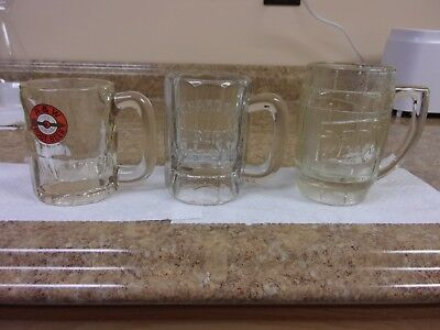 3 Vtg Root Beer Mugs, Heavy Glass Mugs, A&w, Richardson's And, Dads