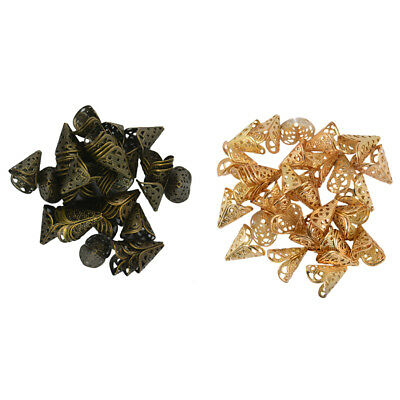 100Pcs Metal Cone Shaped Filigree Spacer Bead End Caps for DIY Handicrafts