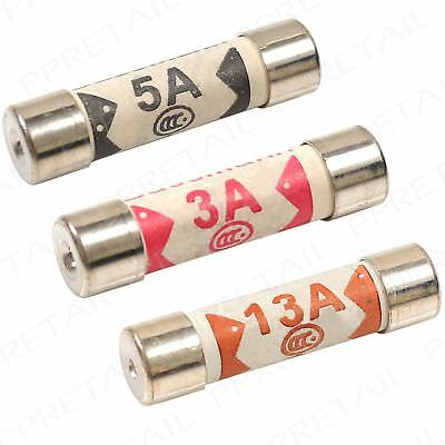 1/3/5/13 AMP Domestic Household Mains Plug Cartridge Fuse Electrical Fuses