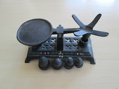 """Miniature Cast Iron Scale with Weights 4 3/4"""" Wide"""