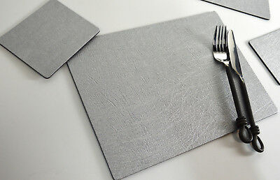 Set 6 ARTISAN SILVER Bonded Leather PLACEMATS & 6 COASTERS Made In UK TABLE MATS