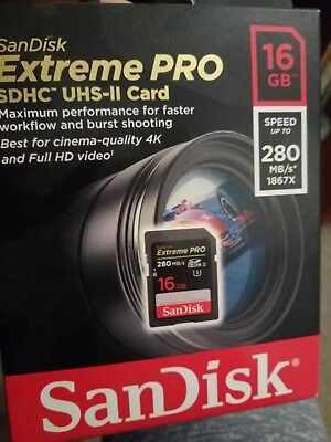 Sandisk Extreme PRO 16GB Read Speed: up to 280 MB/s1, SDHC II Class 10