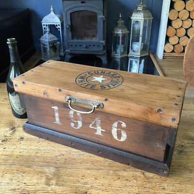 WHITE STAR CUNARD 1946 SMALL INDUSTRIAL Chest Storage Trunk FREE UK DELIVERY 49