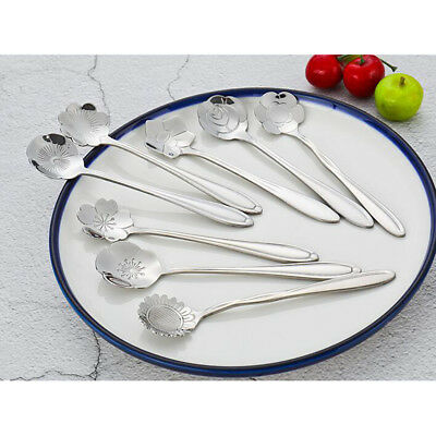 Coffee Spoon Stainless Steel Small Spoons for Dessert Tea Set of 8 Flower