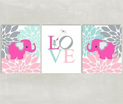 Elephant and Flowers Nursery Wall Art with Love - pink gray mint 3 8x10 Prints