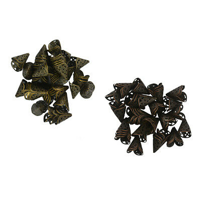 100Pcs Copper Bronze Metal Loose Spacer Bead Flower Caps End for Finding DIY