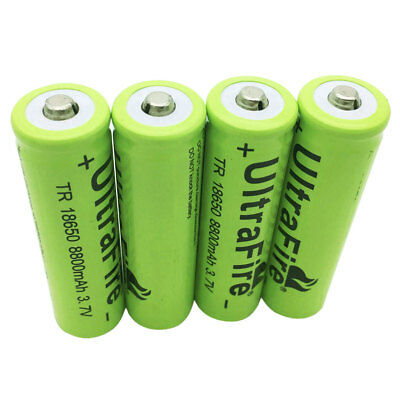 4X 18650 8800mAh 3.7V Li-ion Rechargeable Battery for Flashlight Torch RC Toys