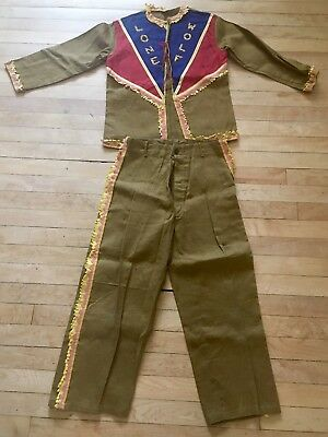 """Early 1950s Childrens Halloween Dress Up Cowboy """"Lone Wolf"""" Western Outfit MINT"""
