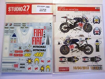 Decal: 1/12 S27 2009 Yamaha Yzr-M1 Rossi/lorenzo Team Colors