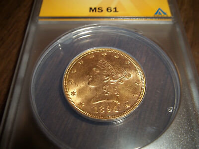 United States 1894 10 DOLLAR LIBERTY GOLD COIN ANACS MS61 UNCIRCULATED CONDITION