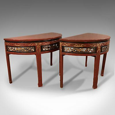 Pair of Antique Chinese Demi-Lune Tables, 19th Century, Circa 1850