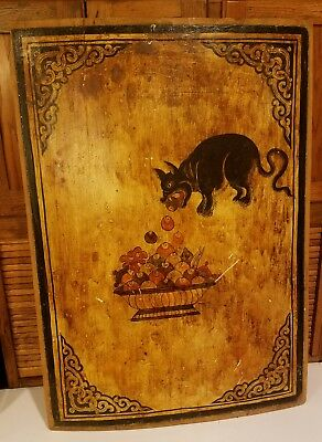 Antique Hand Painted Chamfered Wooden Carousel Panel Folk Art Architectural Sign