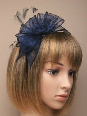 Navy blue fascinator alice hair band with stiffened net loops and feather ten...