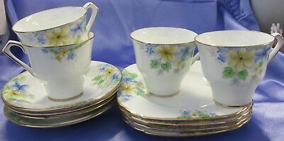 4 X Art Deco Hand-Painted Delphine China Cup/saucer/plate Trio Daisy-Yellow-Blue