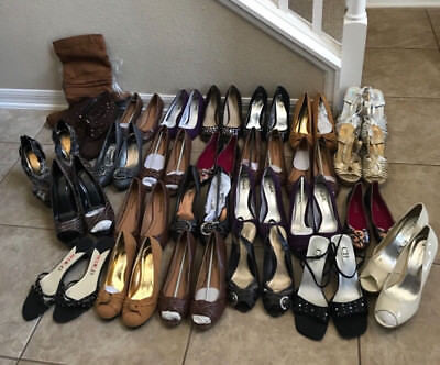 MIXED Lot of 27 Pairs of Women's Heels, Wedges, Boot & Flats Sizes 6-10