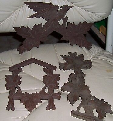 Cuckoo Clock Wood Trim Pieces- Parts. (3) Birds, Leaves, Side Piece with Grapes