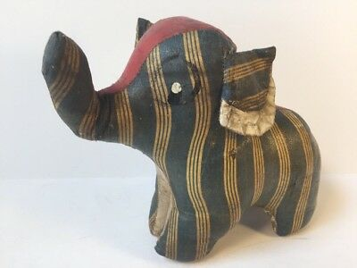Antique Vintage 1930s 1940s Waxed Oil Cloth Stuffed Toy Elephant, Navy White, 7""