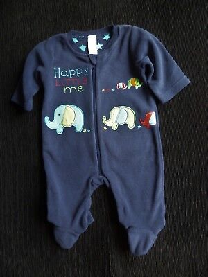 Baby clothes BOY 0-3m TU soft fleece babygrow/sleepsuit elephants zip dark blue