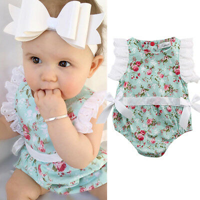 d553519203a0 Newborn Infant Kids Baby Girl Floral Romper Jumpsuit Playsuit Bodysuit  Outfit US
