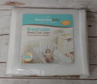 Breathable Baby Solid Mesh Crib Liner - White