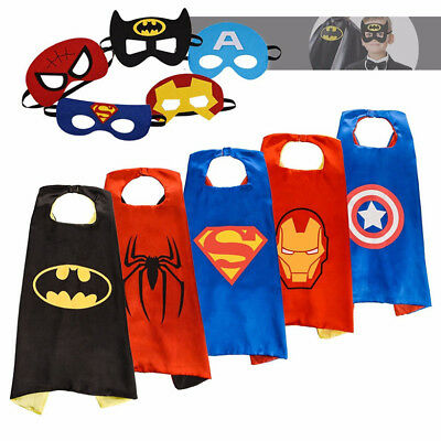 5-Sets Superhero Capes with Masks for Kids Birthday Superhero Costumes Dress Up