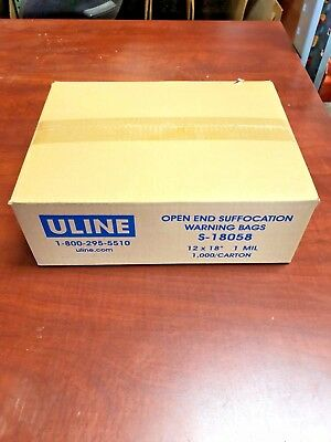 "U-Line Open End Suffocation Warning Bags - 1 Mil, 12 x 18"" S-18058"