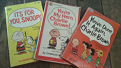LOT X3 1960s paperback books CHARLIE BROWN Schultz PEANUTS Comic Strips collect!