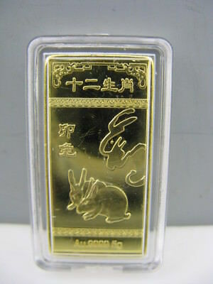 1999 Chinese Zodiac 24K Gold Colour Coin--Year of the Rabbit