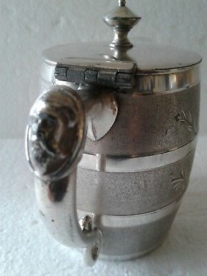 Antique Meriden Figural Face Handle  Silver Plate Syrup Pitcher Etched Barrel
