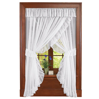 Isabella Ruffled Sheer Fabric Rod Pocket Window Curtain Set, by Collections Etc
