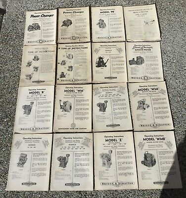 Vtg LOT 16 Briggs Stratton Hit & Miss 4 Cycle Engine Motor Manual Parts Repair