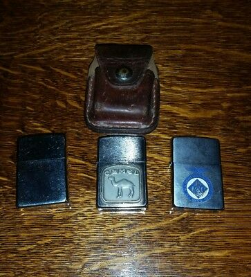 Vintage Zippo Lighters ~ Lot of 3 ~ Used ~ Untested Camel, Navy, Plain