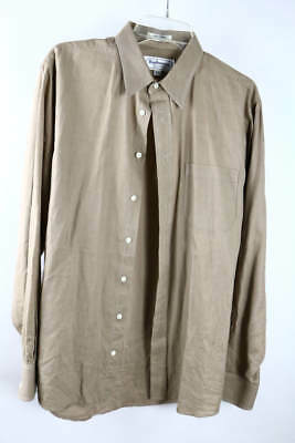 Vintage Burberrys of London Tan Pinstripe Long Sleeve Button-Down Dress Shirt 16