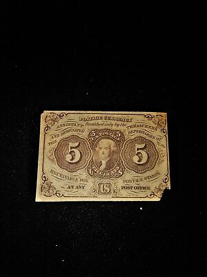 1862 Us 5 Cent Postage Fractional Currency