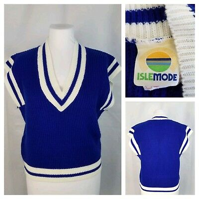 Vintage Isle Mode Small Cap Sleeve Over-Sized Sweater Royal Blue w/ White Trim